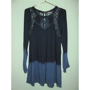 Patrons of Peace Blue Ombre Lace Tunic Blouse